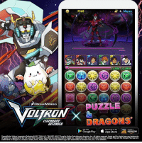 Amazon, America, and Apple: 4 Menu  7920  PUZZLE  DREAMWORKS  DRAGONS  LEGENDARY  DEFENDER  Google Play Download on the  a amazon  App Store  DreamWorks Voltron LegendaryDefender 2017 DWALLC.TM WEP.c2017 GungHoOnline Entertainment America, Inc. All rights reserved, Apple and the Applelogo are trademarks  of Apple Inc. registered in the US and other countries App Store isaservice mark of Apple Inc. registered inthe US, and other countrkes. Google Play and the Google Playlogo are  trademarks of Google Inc. Amazon, Kinde, Echo, Alexa, Dash, Freand all related logos  are trademarks of Amazon.com, Inc. or its affiliates. Voltron and Puzzle & Dragons have teamed up in a collaboration that will rock the galaxy! Obtain and play with your favorite Voltron characters in this match-3 puzzle RPG mobile game! Tackle grueling dungeons alongside your favorite characters! Download the mobile game on the App Store (http:-bit.ly-1hPkfqG) Google Play (http:-bit.ly-2oqLiCo) or Amazon App Store (http:-bit.ly-pandd).
