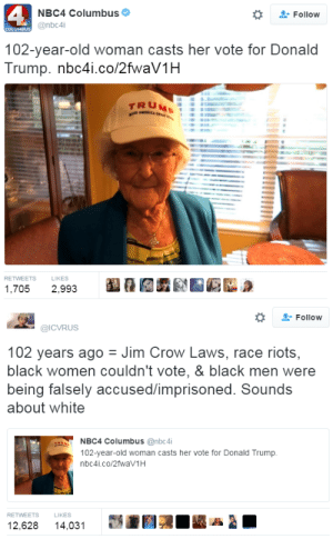 rockoutwithmecockout: kushtwink:  hustleinatrap:  👆🏾👆🏾👆🏾  Oh ok fuck this bitch 😒  Someone snatch the cord   Satan took away her lips omg where they at?: 4  NBC4 Columbus  Follow  @nbc4i  102-year-old woman casts her vote for Donald  Trump. nbc4i.co/2fwaV1H  1,7052,993   Follow  @ICVRUS  102 years ago Jim Crow Laws, race riots,  black women couldn't vote, & black men were  being falsely accused/imprisoned. Sounds  about white  NBC4 Columbus @nbc4i  102-year-old woman casts her vote for Donald Trump  nbc4i.co/2fwav1H  RETWEETS  LIKES  12,628 14,031  AA rockoutwithmecockout: kushtwink:  hustleinatrap:  👆🏾👆🏾👆🏾  Oh ok fuck this bitch 😒  Someone snatch the cord   Satan took away her lips omg where they at?
