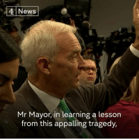 "Jon Snow asks Pittsburgh's mayor whether it's ""time for the political classes to get together and talk about getting the gun out of American society."": 4 News  Mr Mayor, in learning a lesson  from this appalling tragedy, Jon Snow asks Pittsburgh's mayor whether it's ""time for the political classes to get together and talk about getting the gun out of American society."""