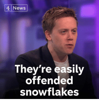 "Donald Trump, Memes, and News: 4 News  They're easily  offended  snowtlakes ""This balloon goes up and they have a massive temper tantrum - it's embarrassing.""  Owen Jones argues that anyone objecting to flying a Donald Trump blimp in London during the President's visit is a 'snowflake'."
