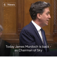 Memes, Democracy, and Ed Miliband: 4 News  Today James Murdoch is back  as Chairman of Sky Ed Miliband says that nothing has changed since Rupert Murdoch tried to buy the rest of Sky five years ago, as he urged the Government to block any new attempts. (via Channel 4 News Democracy)