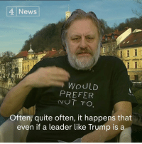 "Memes, 🤖, and Slavoj Zizek: 4 News  WOULD  PREFER  UT TO.  Often, quite often, it happens that  even if a leader like Trump is a ""It's as if this left liberal commentators…don't see that by mocking Trump in this way, they don't really undermine him.""  Philosopher Slavoj Žižek says he worries Donald J. Trump, ""like Hitler"", may have short-term success and that the public shouldn't underestimate him."