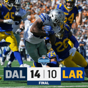 FINAL: @dallascowboys over the Rams in Hawaii! #DALvsLAR https://t.co/WPsTKmAhCG: 4  NF  K24  PRESEASON  2019  DAL 14 10 LAR  FINAL FINAL: @dallascowboys over the Rams in Hawaii! #DALvsLAR https://t.co/WPsTKmAhCG