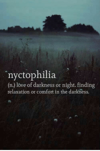 Love, The Darkness, and Darkness: 4%  nyctophilia  (n.) love of darkness or night. finding  relaxation or comfort in the darkness.