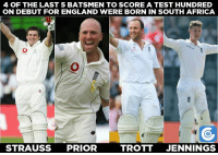 Keaton Jennings becomes the 4th South African-born cricketer to score a hundred on debut for England.: 4 OF THE LAST 5 BATSMEN TO SCOREA TEST HUNDRED  ON DEBUT FOR ENGLAND WERE BORN IN SOUTH AFRICA  STRAUSS  PRIOR  TROTT  JENNINGS Keaton Jennings becomes the 4th South African-born cricketer to score a hundred on debut for England.