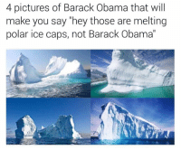 """polarity: 4 pictures of Barack Obama that will  make you say """"hey those are melting  polar ice caps, not Barack Obama"""