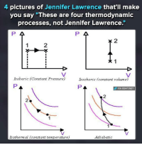"""Thermodynamics: 4 pictures of Jennifer Lawrence that'll make  you say """"These are four thermodynamic  processes, not Jennifer Lawrence.""""  P 4  Isobaric f Constant Pressure  Isochoric f consta  volume)  PA  dp VIA 8SHIT.NET  Isothermal constant temperature)  Adiabatic"""