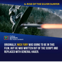 Silver Surfer is so powerful. I hope that we soon will see him in MCU - Follow @cinfacts for more facts - - - - - Avengers4 drax IronMan nebula robertdowneyjr TomHolland benedictcumberbatch doctorstrange chadwickboseman blackpanther fantasticfour thor galactus spiderman elizabetholsen scarletwitch paulbettany vision doncheadle silversurfer trailer infinitywar peterparker guardiansofthegalaxy jessicaalba nickfury: 4: RISE OF THE SILVER SURFER  Follow  LOİ.! | @cinfacts  for more content  ORIGINALLY, NICK FURY WAS GOING TO BE IN THIS  FILM, BUT HE WAS WRITTEN OUT OF THE SCRIPT AND  REPLACED WITH GENERAL HAGER. Silver Surfer is so powerful. I hope that we soon will see him in MCU - Follow @cinfacts for more facts - - - - - Avengers4 drax IronMan nebula robertdowneyjr TomHolland benedictcumberbatch doctorstrange chadwickboseman blackpanther fantasticfour thor galactus spiderman elizabetholsen scarletwitch paulbettany vision doncheadle silversurfer trailer infinitywar peterparker guardiansofthegalaxy jessicaalba nickfury