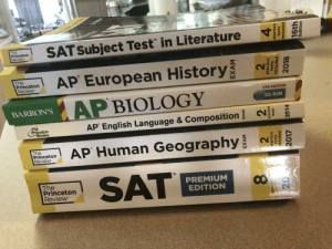 """Phat stack of books for sale!!!: 4  SAT Subject Test"""" in Literature  The  Princeton  Review  AP European History  The  Princeton  Review  4TH EDITION  AP BIOLOGY  CD-ROM  BARRON'S  Geldhere  The  Princeton  Review  AP English Language & Composition  AP Human Geography  The  Princeton  Review  SAT  R)  The  Princeton  Review  PREMIUM  EDITION  EXAM  EXAM  practice  tests  cluded  practice  tests  practice  tests  included  pract  2017  2014  2018 Phat stack of books for sale!!!"""
