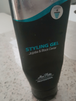 Black, Caviar, and Professional: 4  STYLING GEL  Jojoba & Black Caviar  Mon Plati  PROFESSIONAL This is the gel that josuke uses Incase anyone was wondering;