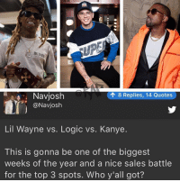 This weekend about to be lit‼️who y'all got⁉️ Follow @bars for more ➡️ DM 5 FRIENDS: -4  THE CRA  18 Replies, 14 Quotes  Navjosh  @Navjosh  Lil Wayne vs. Logic vs. Kanye.  This is gonna be one of the biggest  weeks of the year and a nice sales battle  for the top 3 spots. Who y'all got? This weekend about to be lit‼️who y'all got⁉️ Follow @bars for more ➡️ DM 5 FRIENDS