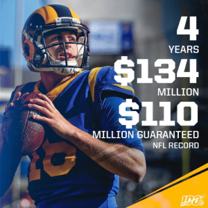 Signed, sealed, delivered.  @JaredGoff16's 4-year deal includes $110M guaranteed. 😳💰  (via @RapSheet) https://t.co/vrV2vtpba2: 4  YEARS  $134  $110  MILLION  MILLION GUARANTEED  NFL RECORD  190  NFL Signed, sealed, delivered.  @JaredGoff16's 4-year deal includes $110M guaranteed. 😳💰  (via @RapSheet) https://t.co/vrV2vtpba2