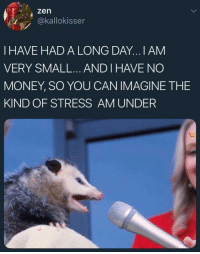 Money, MeIRL, and Stress: 4 zen  @kallokisser  I HAVE HAD A LONG DAY...I AM  VERY SMALL... AND I HAVE NO  MONEY, SO YOU CAN IMAGINE THE  KIND OF STRESS AM UNDER Meirl