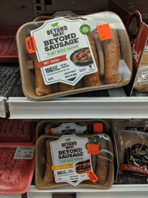 Been watching to see if anyone has bought these...not surprised that they can't sell them on a military base: 40  1ZA07  DRIYAKRY  2.49  BEYOND  MEAT.  SAUSAGE  38%  LESS  THAN  SAT. FAT  PORK  BEYOND  SAUSAGE  SAUSAGE  PLANT-BASED SAUSAGE  with  Mth  ides  HOT Italian  viches  SOY FREE  OF PLANT  PROTEIN  PER SERVING GLUTEN FREE  16G  Per link of the  leading brand  See nutrition facts for saturated fat and sodium content  READY TO COOK  PERISHABLE KEEP REFRIGERATED  NET WT.140Z (400g  BEST BY:  3. Boars Head  Tbs. thousand  8 slices of pum  Drain, but de  halves c bre  cheese. Close  Grill on boths  REENSE  OT# VISS02019  Makes 4 sandw  BEYOND  MEAT  EL  38%  BEYOND  $1.01  MEAT.  BEYOND  SAUSAGEUSE BY  xeses  8 12 19  nulitern  6521  RUNCKHRST S  PLANT-BASED SAUSAGE  Boar's Hea  Brat ORIGINAL  OF PLANT  PROTE  PER SERVINGGLUTEN FREE  ftf d dsan co  16G  SOY FREE  BRAND  Sauerk  Sue  Par ikof the  kading brand  PS EEP R A  BEST BY  NET WIT 1402(400  KEEP UNDER REFRIGERATION  FOR BETTER PRODUCT IFE  $3 001 3019  kt540118  639  iN  8 8 19  18 21 19  ST  ONON8  8 19  8 21 19  PREVIOUSLY  FROZEN  PREVIOUSLY  FROZEN  PREVIC  FR Been watching to see if anyone has bought these...not surprised that they can't sell them on a military base