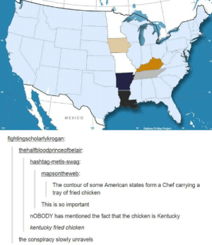Facts, Omg, and Swag: 40  40  70  30  30  MEXICO  120  Nations Online Pro ect  fightingscholarlykrogan  thehalfbloodprinceofbelair:  hashtag-metis-swag:  mapsontheweb  The contour of some American states form a Chef carrying a  tray of fried chicken  This is so important  nOBODY has mentioned the fact that the chicken is Kentucky  kentucky fried chicken  the conspiracy slowly unravels Kentucky Fried Factsomg-humor.tumblr.com