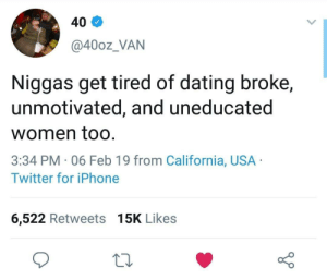 Dank, Dating, and Iphone: 40  @40oz_VAN  Niggas get tired of dating broke,  unmotivated, and uneducated  women too  3:34 PM 06 Feb 19 from California, USA  Twitter for iPhone  6,522 Retweets 15K Likes Gender equality by Ujean1 MORE MEMES