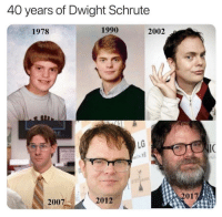 Dwight Schrute: 40 years of Dwight Schrute  1978  1990  2002  LG  2007  2012  2017