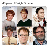 (@ship): 40 years of Dwight Schrute  1978  1990  2002  SE  LG  2017  2007  2012 (@ship)