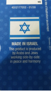 Israel, Peace, and Back: 4012177012 01/18  MADE IN ISRAEL  This product is produced  by Arabs and Jews  working side-by-side  in peace and harmony This label on the back of a SodaStream box