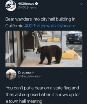 *Face Palm*: 4029news  abc  @4029news  Bear wanders into city hall building in  California 4029tv.com/article/bear-c..  Dragana  @draganakaurin  You can't put a bear on a state flag and  then act surprised when it shows up for  town hall meeting *Face Palm*