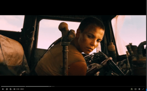 In Mad Max Fury Road, Furiosa glances at her hidden shifter knife right after Max confiscates the pistol hidden under her dash: 41:26 / 2:00:21 In Mad Max Fury Road, Furiosa glances at her hidden shifter knife right after Max confiscates the pistol hidden under her dash