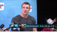 """""""I'm definitely going to look at my future.""""  What's next for Gronk? #SBLII https://t.co/pWilvSDCKf: 41 33  Rob Gronkowski: 9 rec, 116 yds, 2 TD  FINAL """"I'm definitely going to look at my future.""""  What's next for Gronk? #SBLII https://t.co/pWilvSDCKf"""