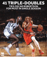 Amazing, Single, and Oscar: 41 TRIPLE DOUBLES  TIES OSCAR ROBERTSON  FOR MOST IN SINGLE SEASON  br Brodie's amazing season continues.
