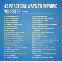 Memes, Chess, and 🤖: 42 PRACTICAL WAYS TOIMPROVE  YOURSELF  Lifehack  httpllwwwEfehockors/artidesMestyle/42 procticalways to improve yourserhtml  01. Read book every day  23 Avoid negative people  02. Learn a new language  24. Learn to deal with difficult people  25. Learn from your friends  03. Pick up a new hobby  26 start ajournal  04. Take up a new course  05 create an inspirational room  27. Start a blog about personal development  06. Overcome your fears  28. Geta mentor or coach  29. Reduce the time you spend on chat  07. Level up your skills  08. Wake up early  programs  30. Learn chess (or any strategy game)  09. Have a weekly exercise routine  31. Stop watching TV  10. Start your life  handbook  11 write a letter to your future self  32. Start a 30-day challege  12. Get out of your comfort zone  33. Meditate  34. Join Toastmasters (Learn public speaking)  13. Put someone up to achallenge  14. dentify your blind spots  35. Befriend top people in their fields  36. Let go of the past  15. Ask for feedback  37 start a business venture  16. Stay focused with to dolists  17. Set Big Hairy Audacious Goals (BHAGs)  38 Show kindness to people around you  18 Acknowledge your flaws  39 Reach out to the people who hate you  40 Take a break  19 Get into action  20 Learn from people who inspire you  41. Read at least 1 personal development  21. Quit a bad habit  article aday  22. Cultivate anew habit  42 commit to your personal growth https://t.co/f0swLEUkEq