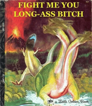 Ass, Bitch, and Love: 421  FIGHT ME YOU  LONG-ASS BITCH  gb a little Golden Book I love their raw hatred for each other