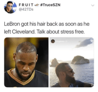 Blackpeopletwitter, Soon..., and Cleveland: @42TDs  LeBron got his hair back as soon as he  left Cleveland. Talk about stress free. <p>Guess what baby? I am freeeee (via /r/BlackPeopleTwitter)</p>