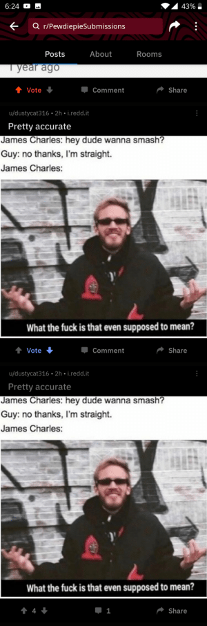 Dude, Reddit, and Smashing: 43% i  6:24  Q r/PewdiepieSubmissions  About  Posts  Rooms  l year ago  Share  Vote  Џ Comment  u/dustycat316 2h i.redd.t  Pretty accurate  James Charles: hey dude wanna smash?  Guy: no thanks, I'm straight.  James Charles:  What the fuck is that even supposed to mean?  Џ Comment  Share  udustycat316 . 2h . İ.reddit  Pretty accurate  James Charles: hey dude wanna smash?  Guy: no thanks, I'm straight.  James Charles:  What the fuck is that even supposed to mean?  Share This needs to be fixed.