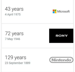 Microsoft, Nintendo, and Respect: 43 years  4 April 1975  Microsoft  72 years  7 May 1946  SONY  129 years  23 September 1889  Nintendo Give respect