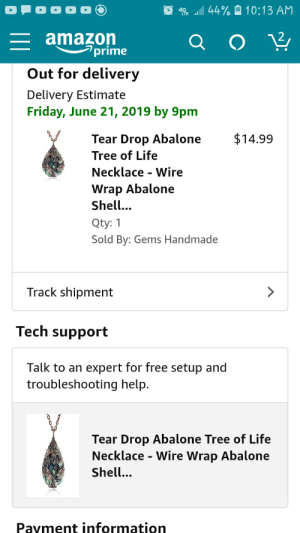 Amazon, Amazon Prime, and Friday: 44% 10:13 AM  amazon  prime  Out for delivery  Delivery Estimate  Friday, June 21, 2019 by 9pm  $14.99  Tear Drop Abalone  Tree of Life  Necklace Wire  Wrap Abalone  Shell..  Qty: 1  Sold By: Gems Handmade  Track shipment  Tech support  Talk to an expert for free setup and  troubleshooting help.  Tear Drop Abalone Tree of Life  Necklace - Wire Wrap Abalone  Shell...  Payment information Ah... thanks for offering tech support for my necklace