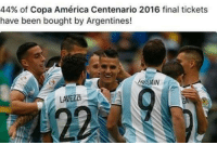 America, Confidence, and Finals: 44% of Copa América Centenario 2016 final tickets  have been bought by Argentines!  LAVEZZI So much confidence from the Argentinians..