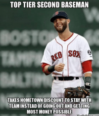 TOPTIER SECOND BASEMAN  TAKES HOMETOWN DISCOUNT  TO STAY WITH  TEAM INSTEADOF GOINGOUT AND GETTING  MOST MONEY POSSIBLE  WhatDoU Who would you rather have at 2B?  Robinson Cano or Dustin Pedroia? (Boston Red Sox Memes)