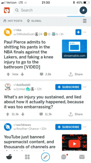 Finals, Los Angeles Lakers, and Nba: 45%  ll Verizon LTE  21:33  Q Search  HOT POSTS  GLOBAL  r/nba  u/24KobeGoat S 24 11 6. 1h  Paul Pierce admits to  shitting his pants in the  NBA finals against the  Lakers, and faking a knee  injury to go to the  bathroom [VIDEO]  streamable.com  ,Share  Vote  2.8k  r/AskReddit  SUBSCRIBE  /jcrewz  12h  What's an injury you sustained, and lied  about how it actually happened, because  it was too embarrassing?  31.3k  11.3k  Share  r/worldnews  +SUBSCRIBE  u/Another-Chance 10h  YouTube just banned  supremacist content, and  thousands of channels are  X-  X-  thaveraacom Reddit, you have a way with words...
