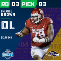 Clock, Espn, and Memes: 45  ORLANDO  BROWN  THE CLOCK UN THE  RAFT  DR  OKLAHOMR  VEN  RAVE  N THE CLOCK D  N THE C  NFL  DRAFT  2018  DRAFT  2018 With the #83 overall pick in the 2018 #NFLDraft, the @Ravens select OL Orlando Brown (@ZEUS__78)!  📺: NFLN/FOX/ESPN https://t.co/NN9vS1wvtN
