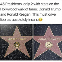 America, Donald Trump, and Facebook: 45 Presidents, only 2 with stars on the  Hollywood walk of fame: Donald Trump  and Ronald Reagan. This must drive  liberals absolutely insane  DONALD TRUMPRONALD REAGAN All you see is liberals desecrate Trump's star whenever they can. It just shows how sweet and caring they are as a whole 😒😒 trumplife trumpstar ronaldreagan trumpmemes liberals libbys democraps liberallogic liberal maga conservative constitution presidenttrump resist thetypicalliberal typicalliberal merica america stupiddemocrats donaldtrump trump2016 patriot trump yeeyee presidentdonaldtrump draintheswamp makeamericagreatagain trumptrain triggered CHECK OUT MY WEBSITE AND STORE!🌐 thetypicalliberal.net-store 🥇Join our closed group on Facebook. For top fans only: Right Wing Savages🥇 Add me on Snapchat and get to know me. Don't be a stranger: thetypicallibby Partners: @theunapologeticpatriot 🇺🇸 @too_savage_for_democrats 🐍 @thelastgreatstand 🇺🇸 @always.right 🐘 @keepamerica.usa ☠️ @republicangirlapparel 🎀 @drunkenrepublican 🍺 TURN ON POST NOTIFICATIONS! Make sure to check out our joint Facebook - Right Wing Savages Joint Instagram - @rightwingsavages