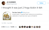 "Blackpeopletwitter, Love, and Sex: 45 SUMMER  @YayerGangCoolee  Follow  I thought it was just 2 frogs kickin it tbh  The New YorkerNewYorker  Arnold Lobel's ""Frog and Toad"" endures as an amphibious  celebration of same-sex love: nyer.cm/5wDjCOk  1:21 PM-3 Jul 2018  5,732 Retweets 14,545 Likes  0寮●O$0(90 <p>Hol up (via /r/BlackPeopleTwitter)</p>"