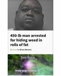 Anaconda, News, and Weed: 450-lb man arrested  for hiding weed in  rolls of fat  In News by Brian Abrams  Extra Pockets  Carrying capacity is increased by 100