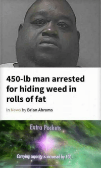 Anaconda, News, and Weed: 450-lb man arrested  for hiding weed in  rolls of fat  In News by Brian Abrams  Extra Pockets  Carrying capacity is increased by 100 Well at least he tried