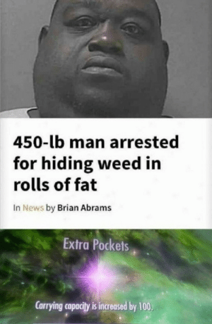 Anaconda, News, and Weed: 450-lb man arrested  for hiding weed in  rolls of fat  In News by Brian Abrams  Extra Pockets  Carrying capacity is increased by 100,
