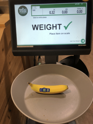 Whole Foods, Zero, and Banana: $454  EALER  5:17  Jul 15, 2019  30 Ib  Max  Min 0.20 lb  d e 0.01 lb  WHOLE  FOODS  TOTAL $  $1b  lb  TARE  0.00  0.00  0.32  MARKET  Select an article please  WEIGHT  Place item on scale  Add Tare Weight  61064714300  BIZERBA  Screen saver indicates this scale is at Zero  4237  Costa Rica  WHOLE  TRADE Banana on Scale