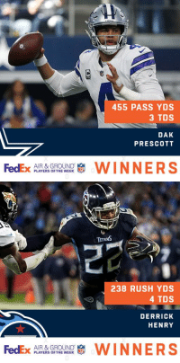 Congratulations to @dallascowboys QB @dak and @Titans RB @KingHenry_2 on being named @FedEx #AirandGround Players of Week 14! https://t.co/E1ZJ0We882: 455 PASS YDS  3 TDS  DAK  PRESCOTT  AIR & GROUND  PLAYERS OF THE WEEK   238 RUSH YDS  4 TDS  DERRICK  HENRY  AIR & GROUND  PLAYERS OF THE WEEK Congratulations to @dallascowboys QB @dak and @Titans RB @KingHenry_2 on being named @FedEx #AirandGround Players of Week 14! https://t.co/E1ZJ0We882