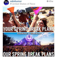 THROWBACK! Whatchu doin' for sprangggg break!? 😜 edmHumor ultra: 45W  edmhumor  9 United States of Rave  YOUR SPRING BREAK PLANS  tiedm Humor @edm Humor  OUR SPRING BREAK PLANS THROWBACK! Whatchu doin' for sprangggg break!? 😜 edmHumor ultra