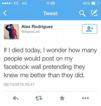 Facebook... theladbible twitter: 46%  11:09  Tweet  Alex Rodriguez  @Apex Lex  If died today, I wonder how many  people would post on my  facebook wall pretending they  knew me better than they did.  06/10/2015 05:47 Facebook... theladbible twitter
