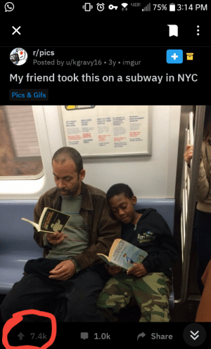 Reddit, Subway, and Black: 46  75%  3:14 PM  r/pics  Posted by u/kgravy16 3y imgur  My friend took this on a subway in NYC  Pics &Gifs  Ou w yon  denie  e ge  t 7.4k  1.0k  Share  >  X Reddit is shocked to discover that black people can read!!