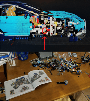 Lego, Bugatti, and Pages: 464 Had to destroy 5 hours, 150 pages and 1000+ pieces of progress because I missed one small gear while build a section of the Lego Technic Bugatti Chiron