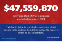 "We didn't forget about you Betsy DeVos.: $47,559,870  Betsy and Dick DeVos' campaign  contributions since 2000  ""My family is the largest single contributor of soft  money to the national Republican party...We expect a  return on our investment.""  Betsy DeVos  Source: FollowTheMoney.org We didn't forget about you Betsy DeVos."