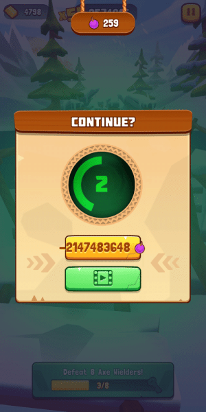 Jumanji Epic Run has no limit to how many times you can revive, but at a certain point they apparently offer to pay you to revive.: 4798  259  CONTINUE?  2147483648  Defeat 8 Axe Wielders!  3/8 Jumanji Epic Run has no limit to how many times you can revive, but at a certain point they apparently offer to pay you to revive.